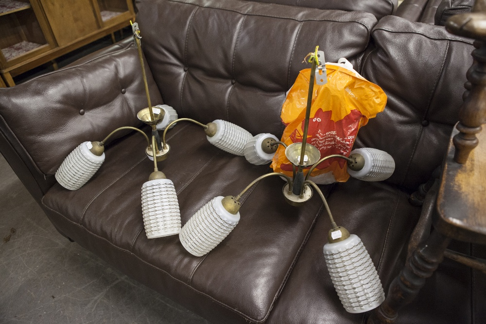 Lot 11 - A PAIR OF OUR BRANCH 1950's ELECTROLIERS, WITH TWO EXTRA GLASS SHADES