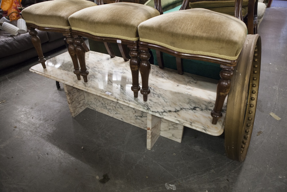 Lot 59 - A MODERN VARIEGATED PINK BLUSH MARBLE OBLONG COFFEE TABLE WITH PANELLED SUPPORTS/UNDERFRAME