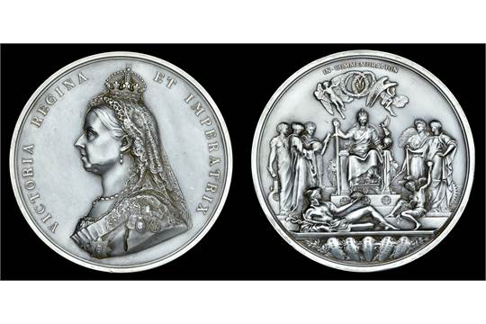 Victoria, Golden Jubilee, 1887, a silver medal by L C  Wyon after