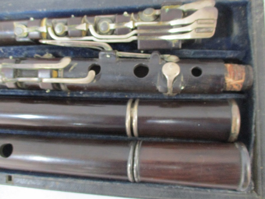 A 19th century cased Rudall & Rose flute with SCM mounts- some slight splitting to mouthpieces, - Image 11 of 13