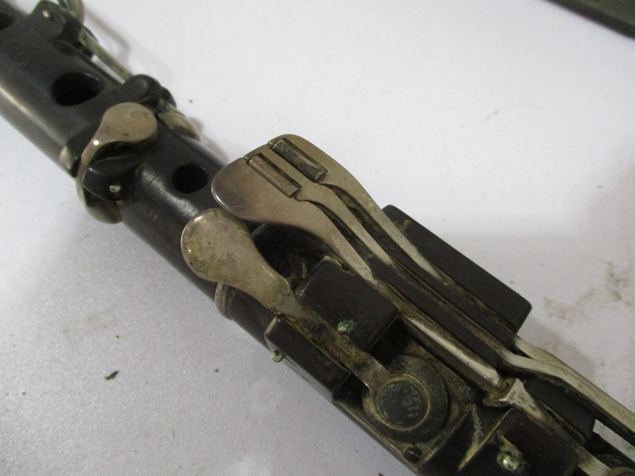 A 19th century cased Rudall & Rose flute with SCM mounts- some slight splitting to mouthpieces, - Image 8 of 13