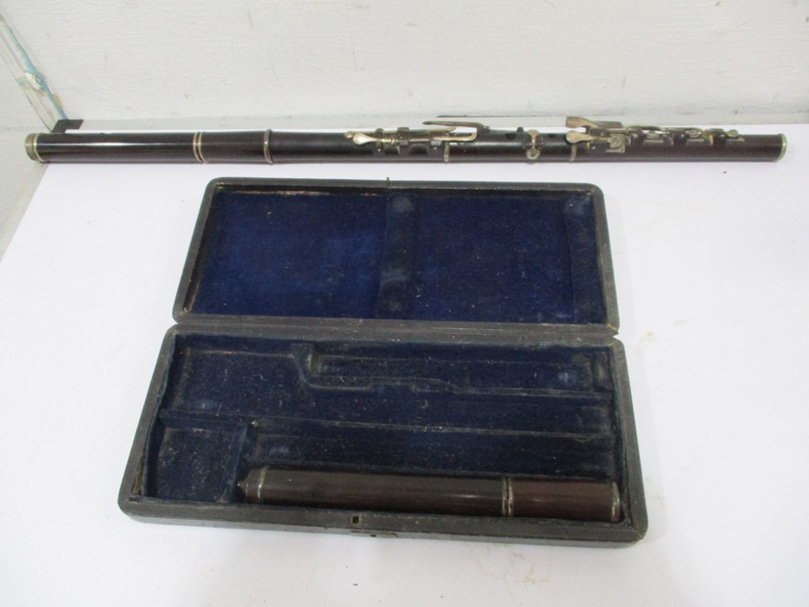 A 19th century cased Rudall & Rose flute with SCM mounts- some slight splitting to mouthpieces, - Image 2 of 13