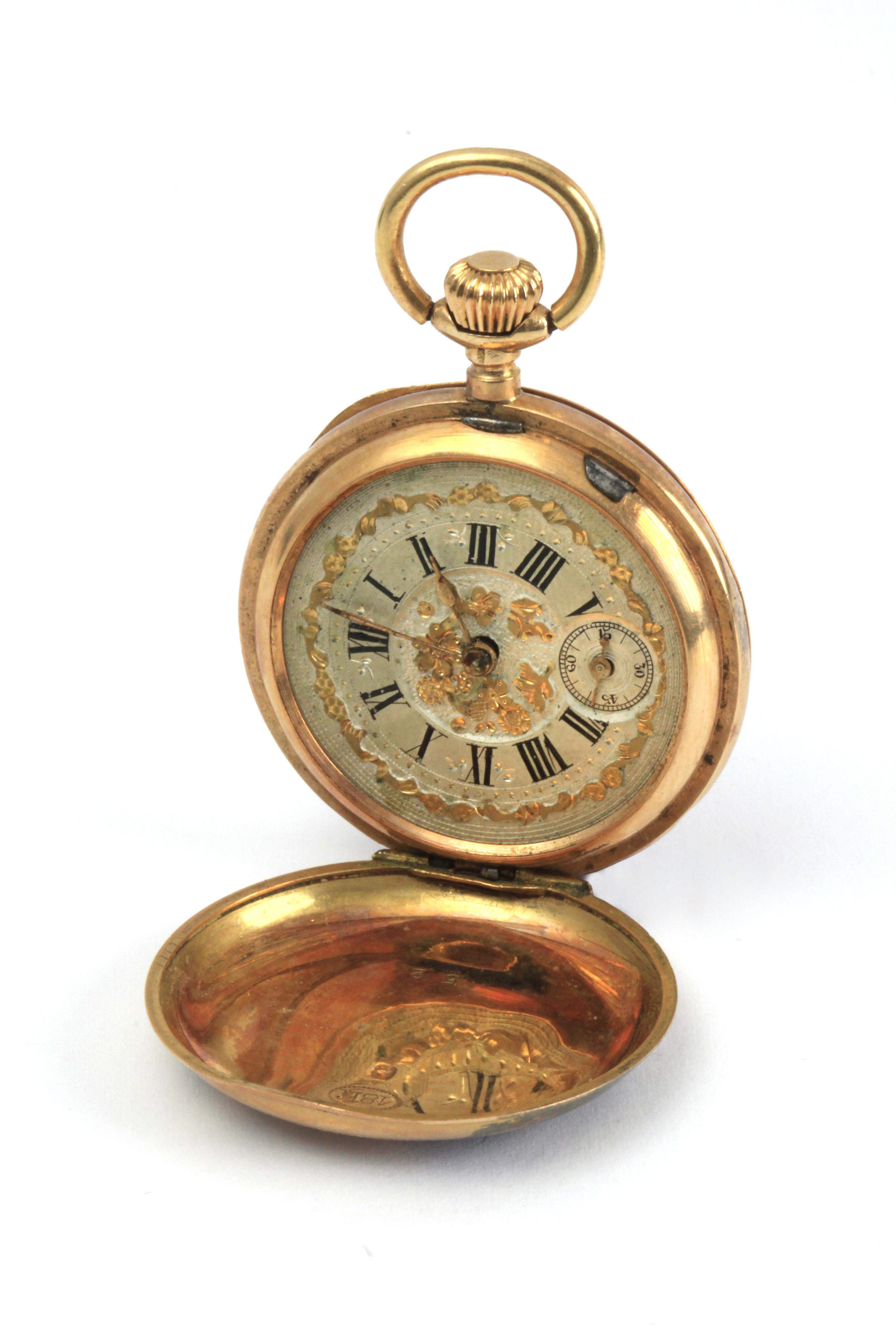 Lot 73 - Armand Locle. A late 19th century ladies double hunter pocket watch in 18 k. yellow gold