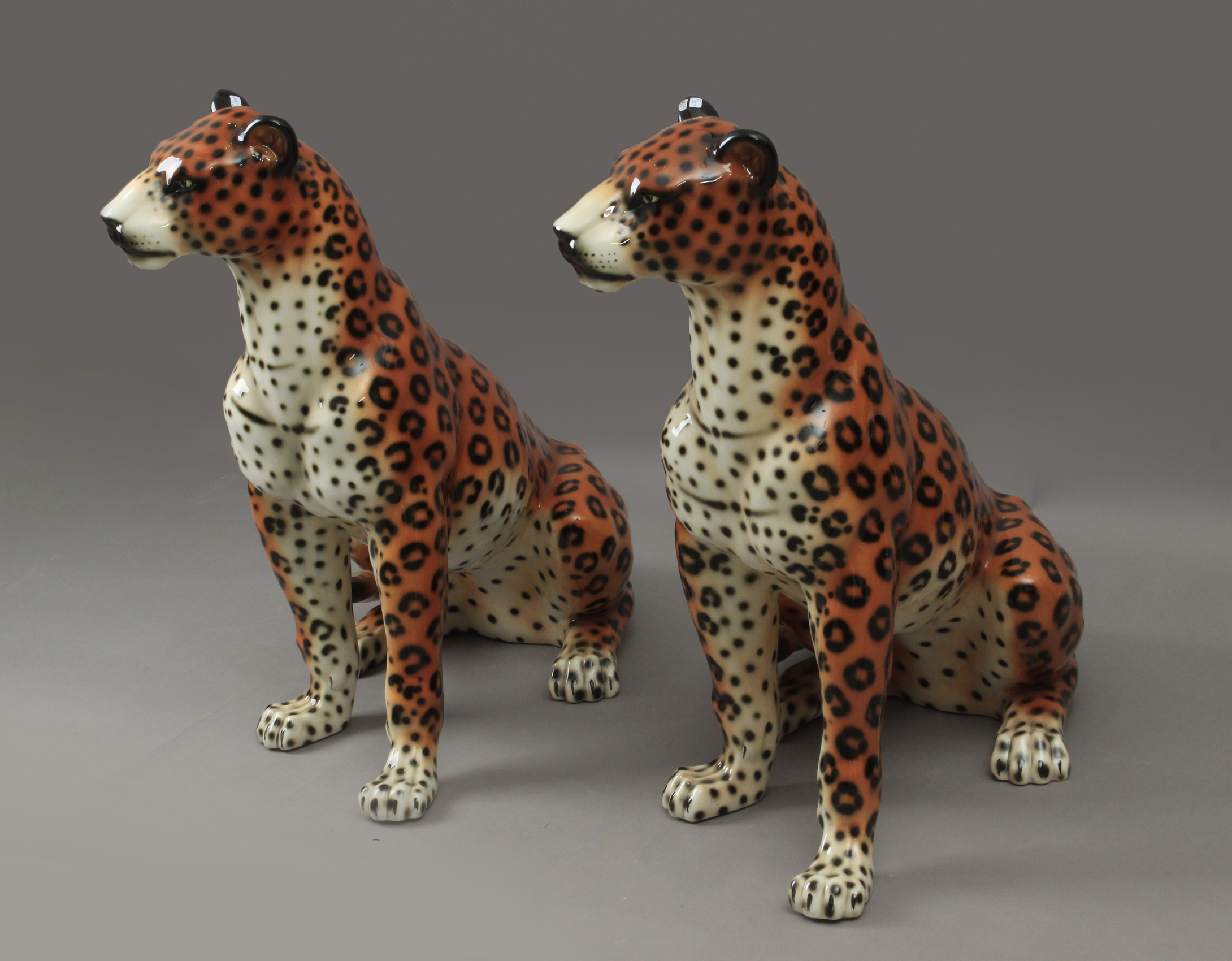 Lot 300 - A pair of leopard figures in porcelain circa 1980