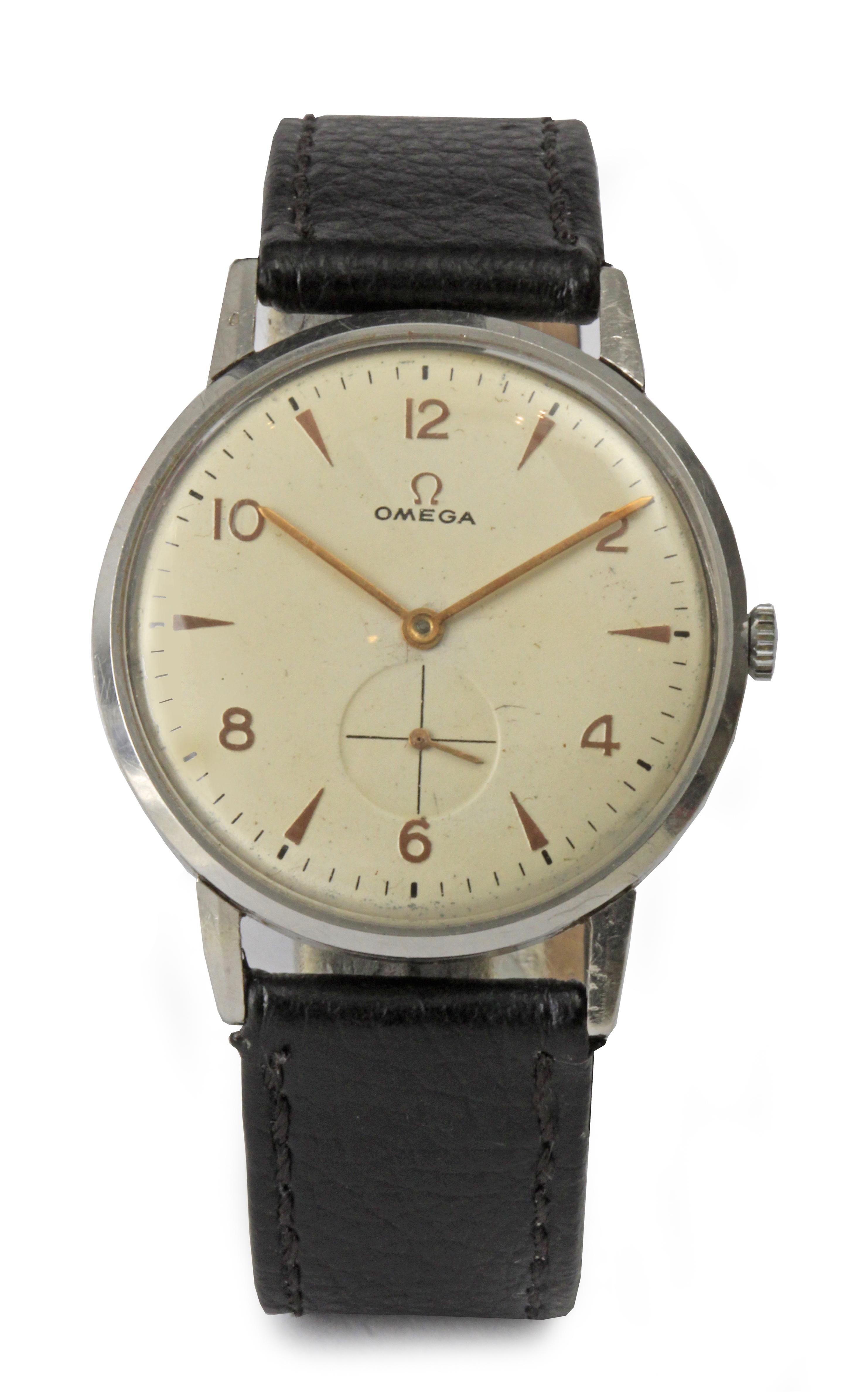 Lot 69 - Omega. A gentlemen wrist watch circa 1950