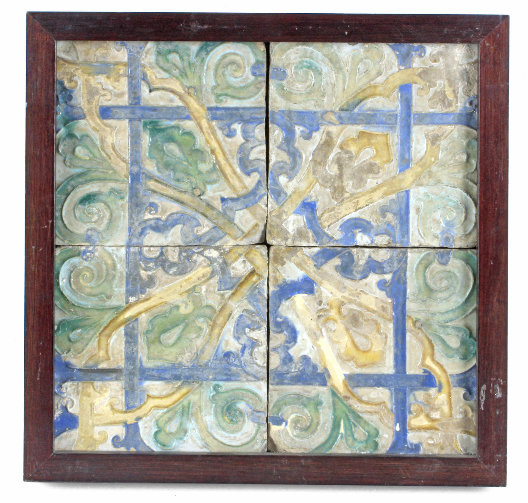 Lot 218 - A 19th-20th centuries plaque with four Catalan showing tiles