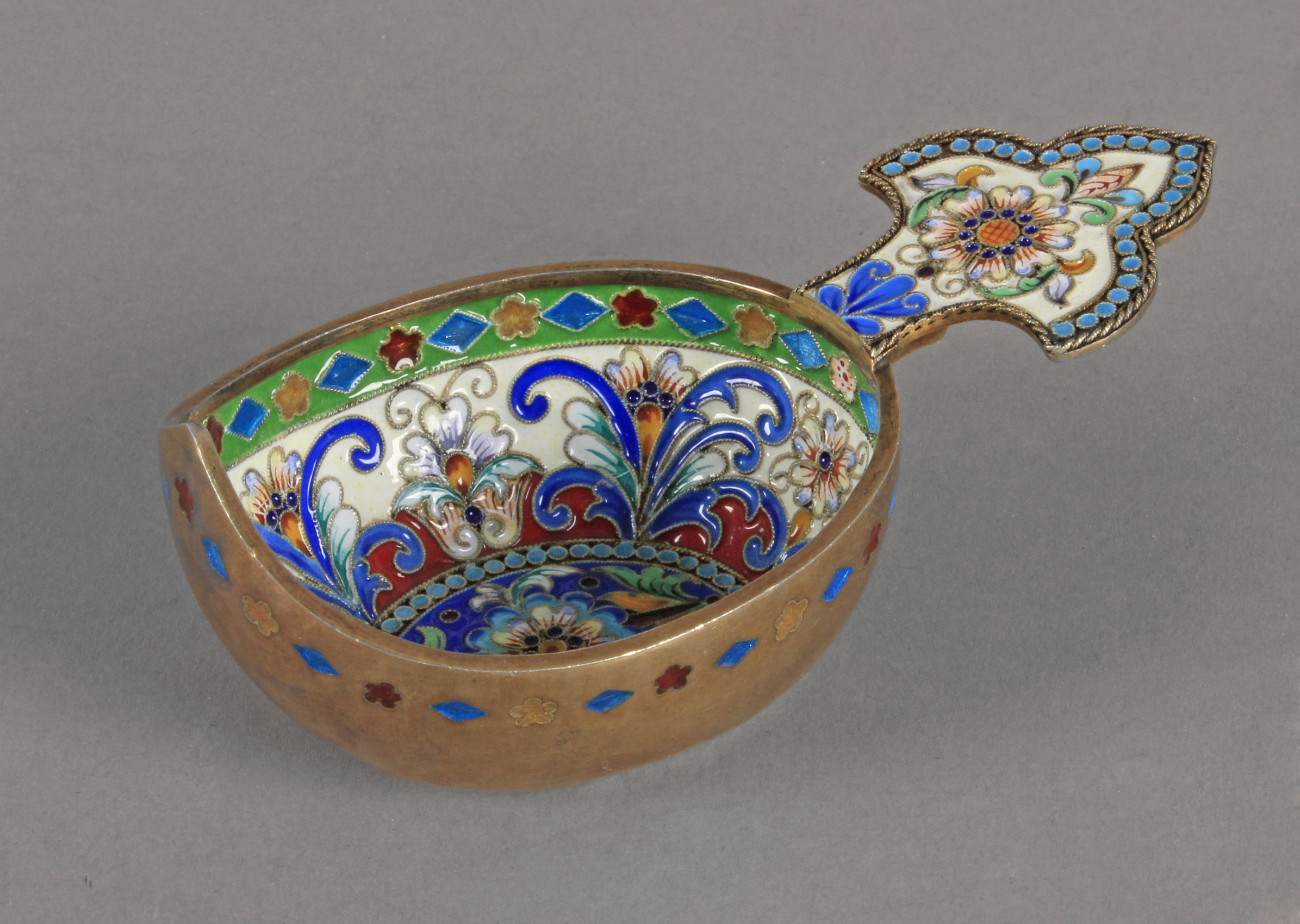 A 20th century Russian silver and cloisonné enamel kowsch