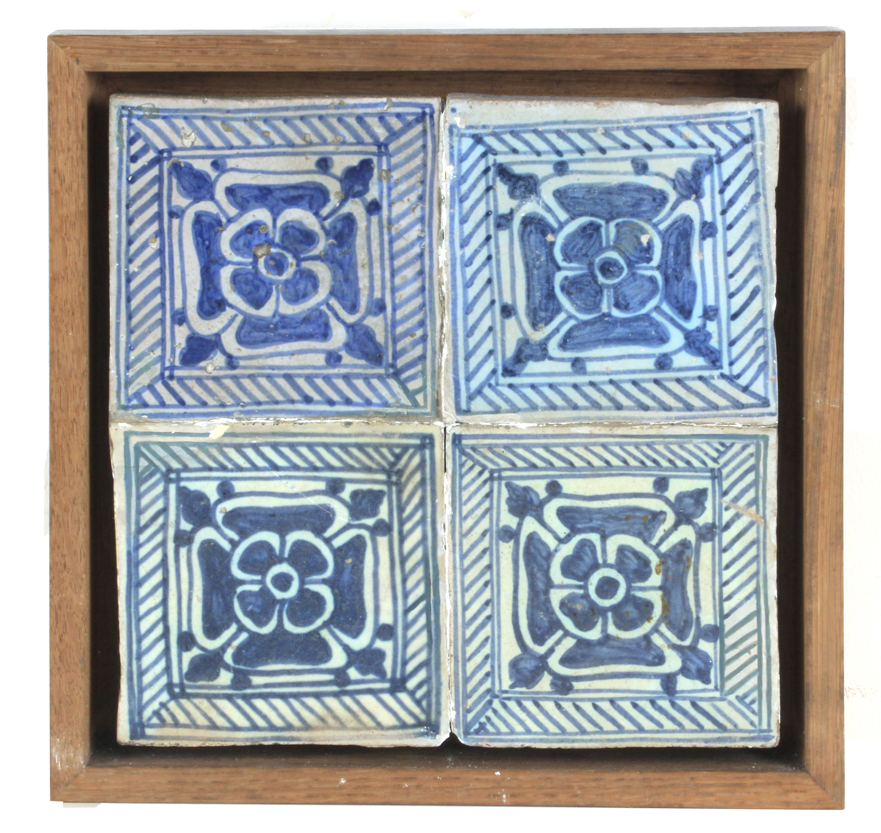 Lot 237 - A 15th-16th centuries plaque with four Gothic Valencian showing tiles