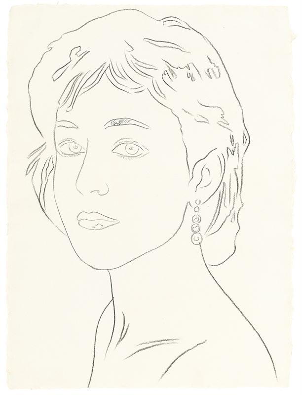 Los 749 - Andy Warhol (Pittsburgh 1928 – 1987 New York)Portrait of a young Woman. 1985Grafit auf Bütten.