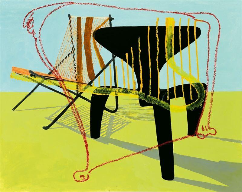 Los 713 - Martin Kippenberger (1953-1997) und Maria Papadimitriou (*1957) ()Music Chairs. 1996Öl auf Leinwand.