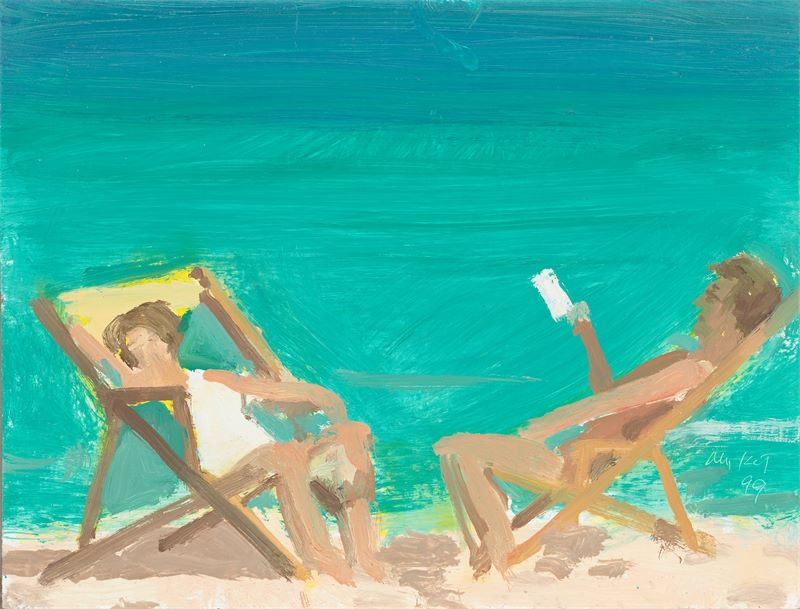 "Los 722 - Alex Katz (New York 1927 – lebt in New York)""Vivien and Vincent at Playa del Carmen"". 1999Öl auf"