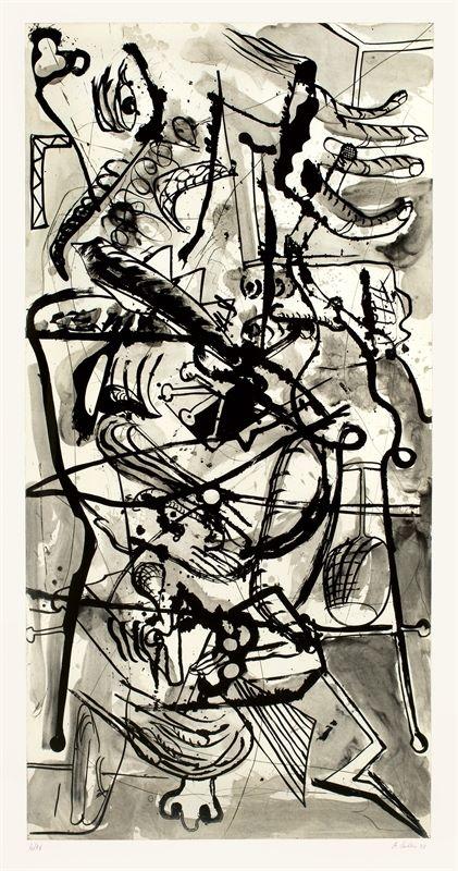 Albert Oehlen (Krefeld 1954 – lebt in Gais, Schweiz)Ohne Titel. 1998Radierung auf Bütten. 198×99