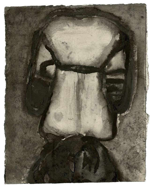 """Los 731 - Marlene Dumas (Kapstadt 1953 – lebt in Amsterdam)""""Back"""". 1993Tusche und Aquarell auf Papier. 24,"""