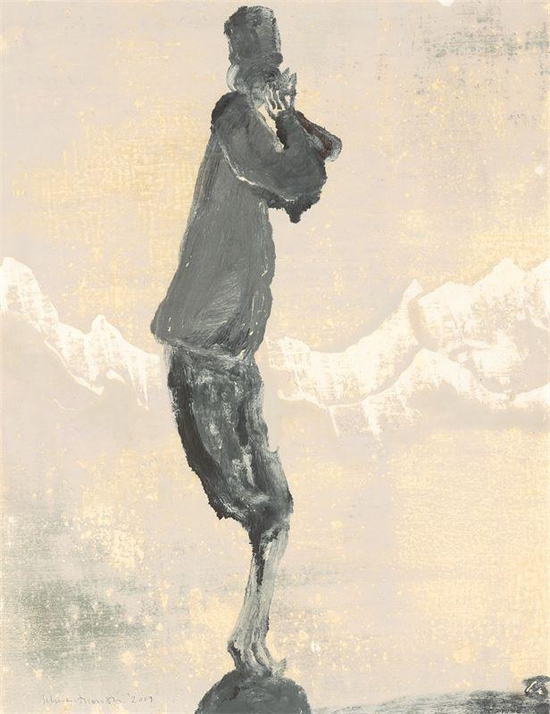 """Los 740 - Norbert Schwontkowski (1949 – Bremen – 2013)""""Berg Muezzin"""". 2009Öl auf Papier. 65×50cm ( 25⅝×"""