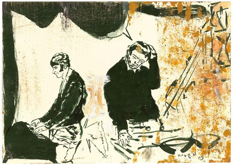 Los 736 - Neo Rauch (Leipzig 1960 – lebt in Leipzig)Ohne Titel. 2005Tuschestift und Öl auf Papier. 21×30