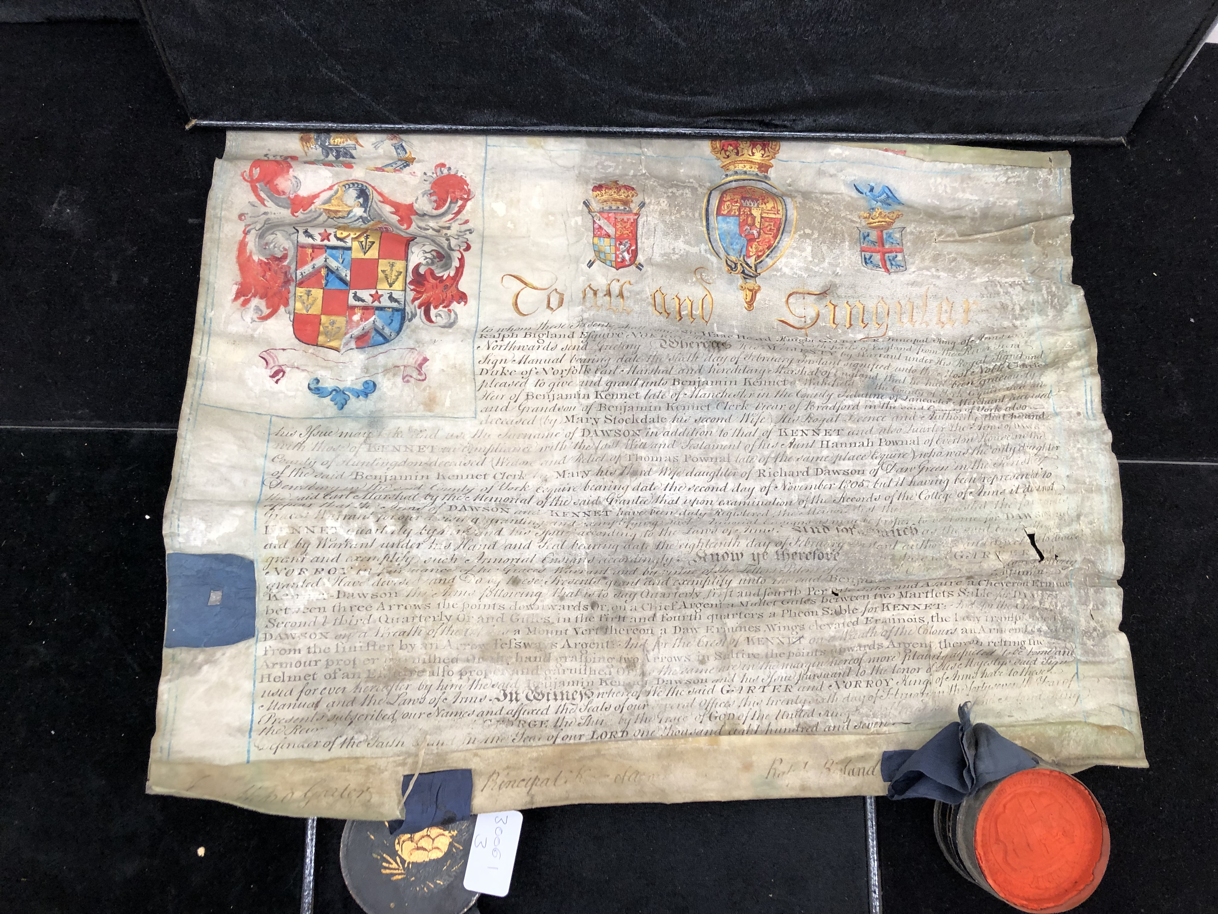 Lot 230 - A Grant of Arms to Benjamin Kennet, Manchester, signed Wax Tippets from Sir Isaac Heard,