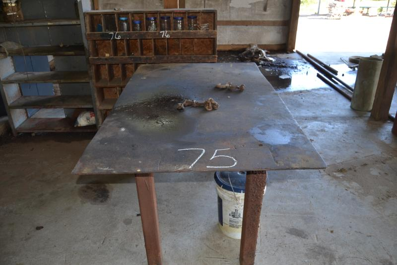 Lot 75 - STEEL WORK TABLE