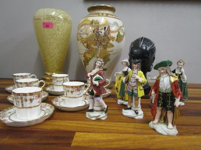 Lot 25 - A mixed lot to include six French gold anchor figurines, a Wedgwood porcelain set of six coffee cups