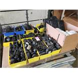 Pallet of assorted walkie talkies accessories, computer hardware etc.