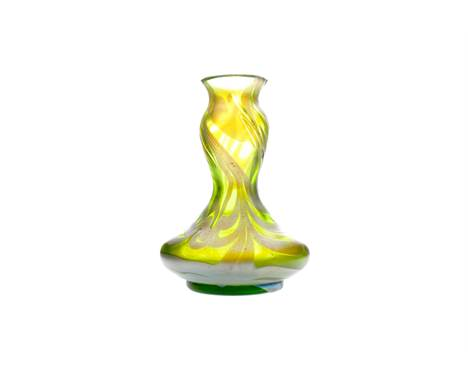 ART NOUVEAU IRIDESCENT GLASS VASE, possibly Loetz, of double gourd form, green glass with blue tinted overlay, 12.5cm high