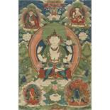 A FINE 18TH CENTURY THANGKA DEPICTING AVALOKITESHVARA SHADAKSHARI Distemper and gold paint on cloth,