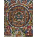 A FIGURE FILLED MANDALA THANGKA WITH CHAKRASAMVARA IN YAB YUM Distemper and gold paint on cloth,