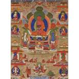A 19th CENTURY THANGKA DEPICTING AMITABHA IN SUKHAVATI Distemper on cloth, framed in plain linen