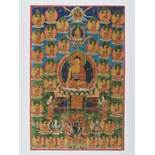 A 19th CENTURY THANGKA DEPICTING BUDDHA AMITABHA Distemper and gold paint on cloth Sino-Tibetan,