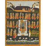 AN INDIAN PICHVAI PAINTING WITH WORSHIP OF SHRINATHJI, 1900s Body color on cloth Nathdwara,