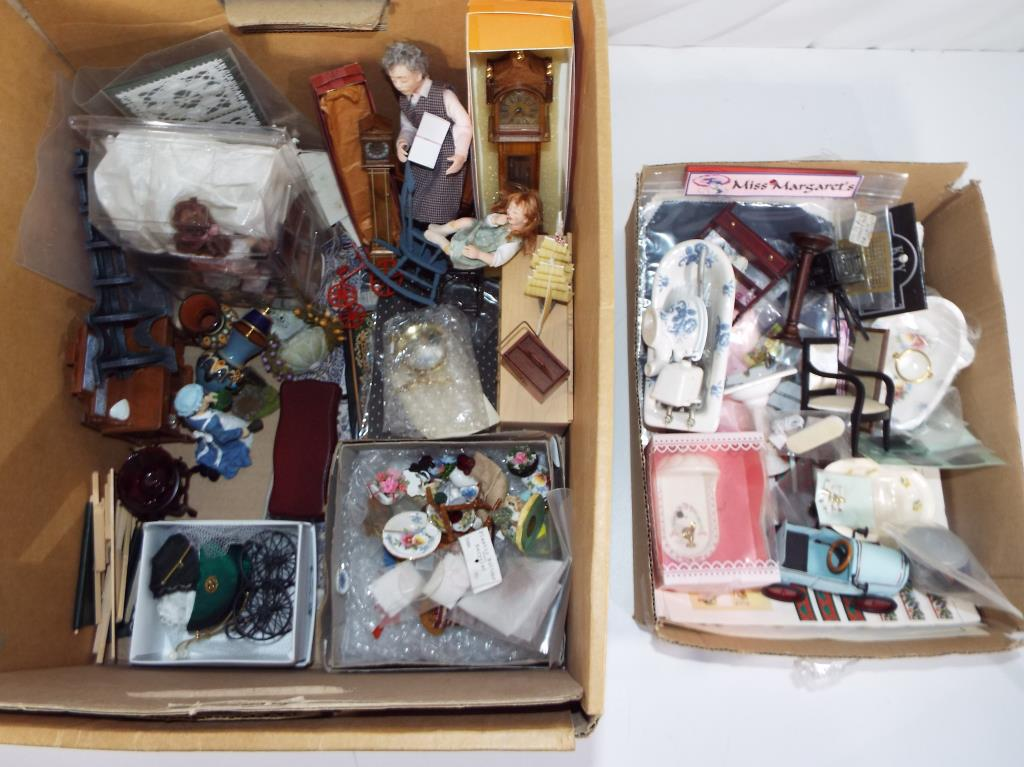 Lot 76 - Dolls house furniture - Two boxes containing a large quantity of good quality dolls house