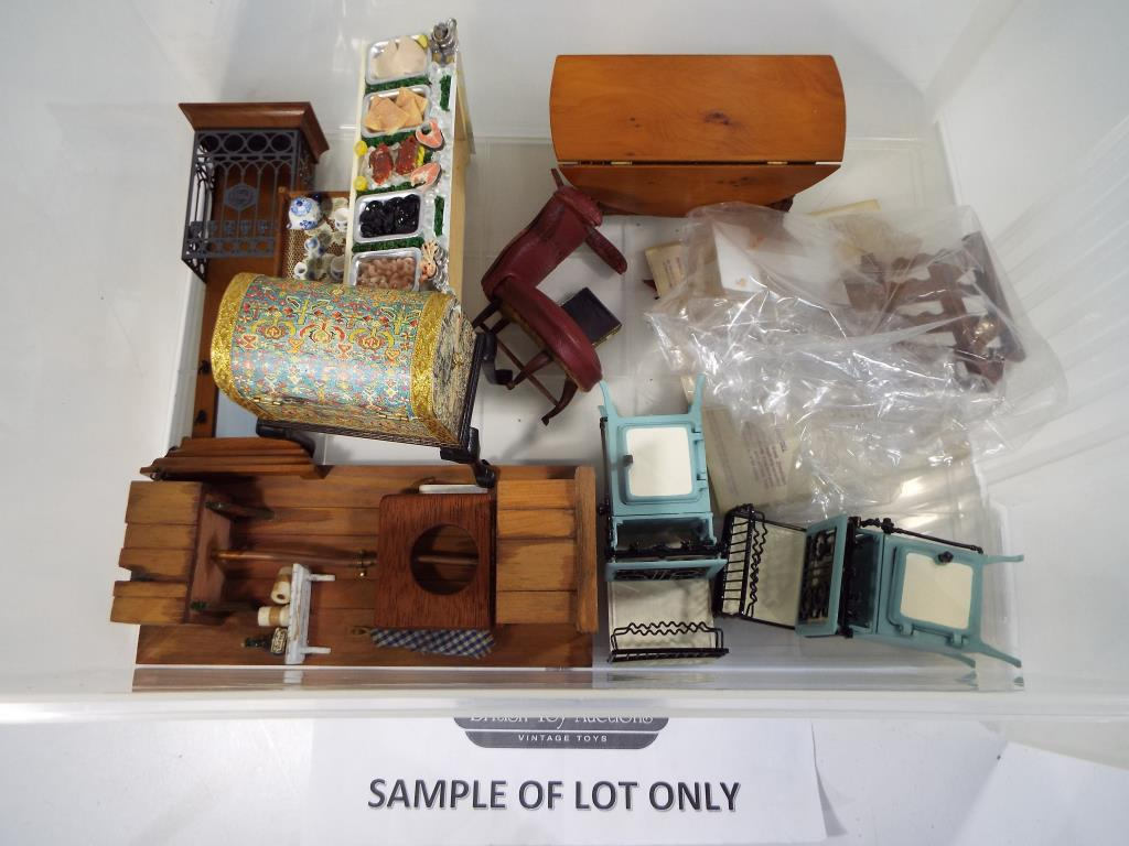 Lot 77 - Dolls House furniture - a four drawer storage cabinet containing a quantity of good quality dolls
