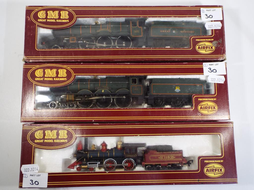 Lot 30 - Model Railways - three boxed OO gauge GMR / Airfix steam locomotives comprising two Castle Class