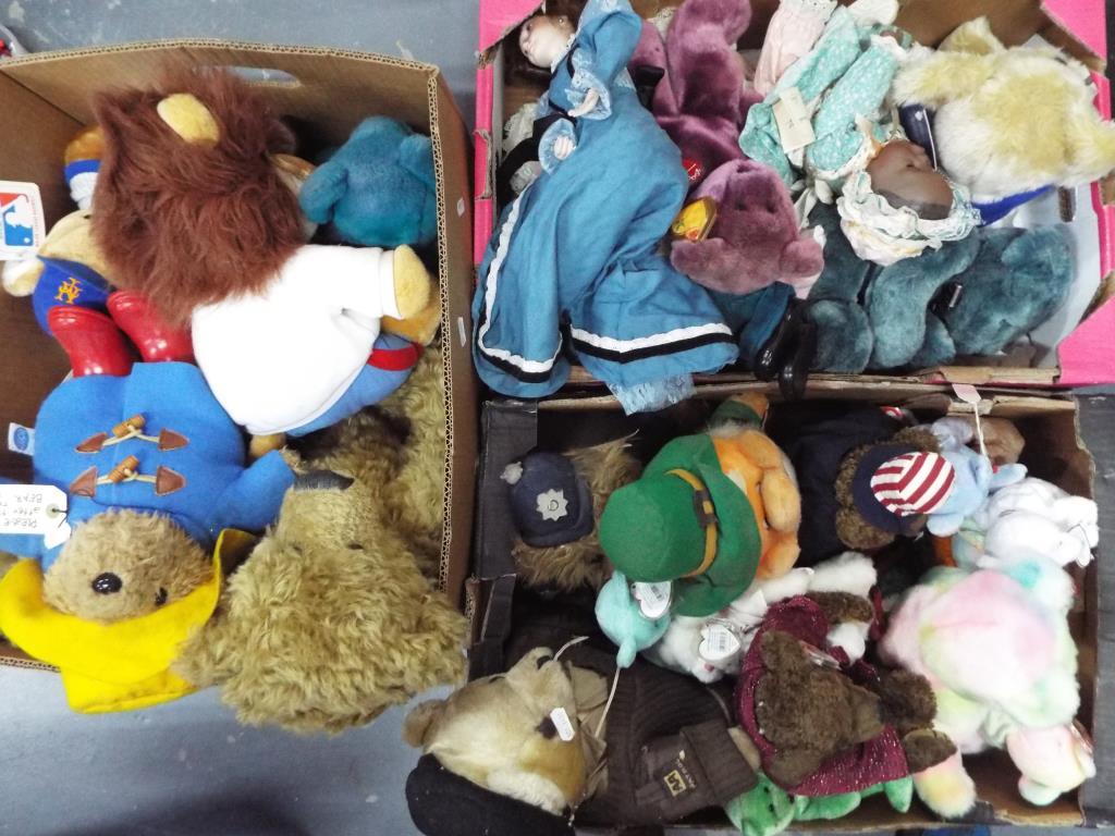 Lot 74 - Bears - Three boxes containing a quantity of bears to include Ty beanies,