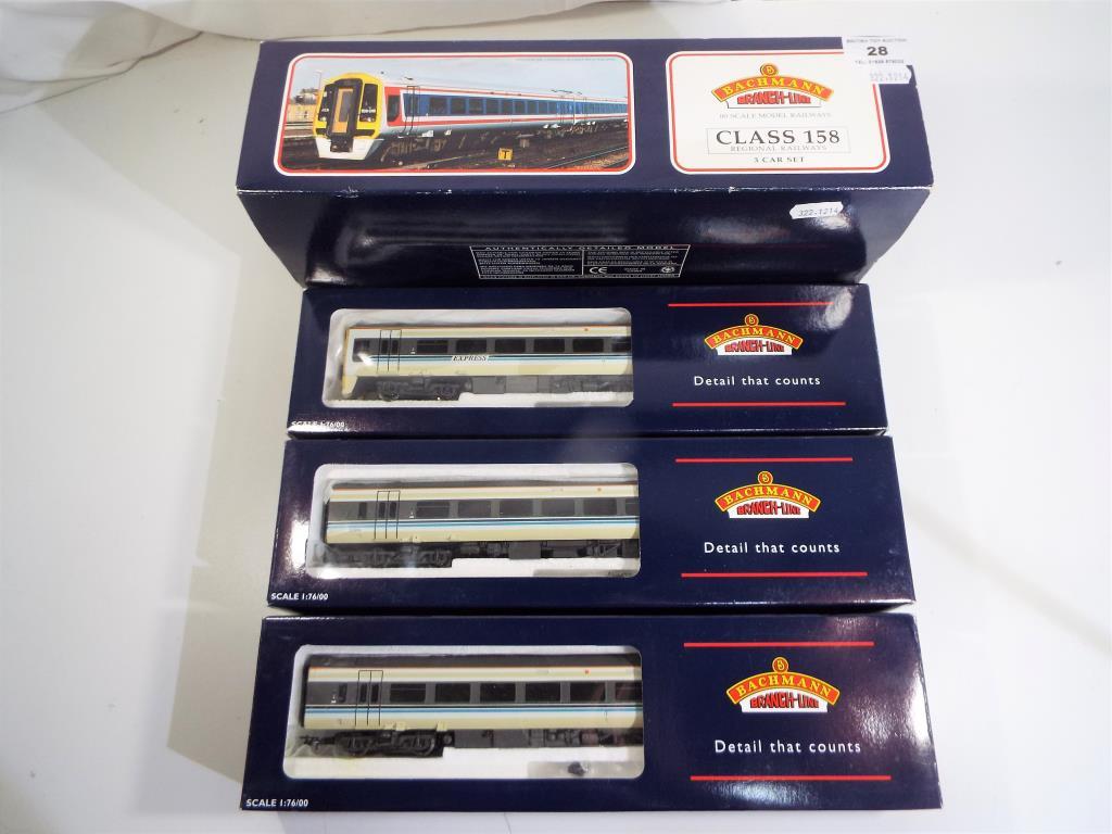 Lot 28 - Model Railways - a Bachmann OO gauge class 158 three car DMU ref # 31-511 in NM condition with G