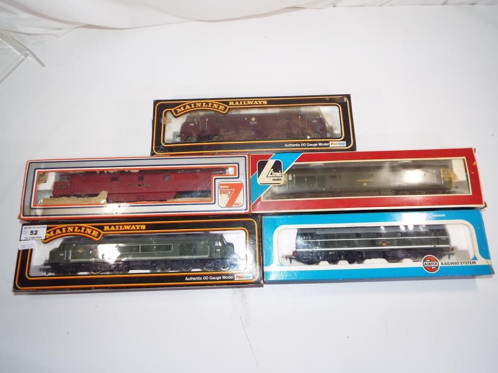 Lot 52 - Model Railways - five OO gauge diesels by Main Line,