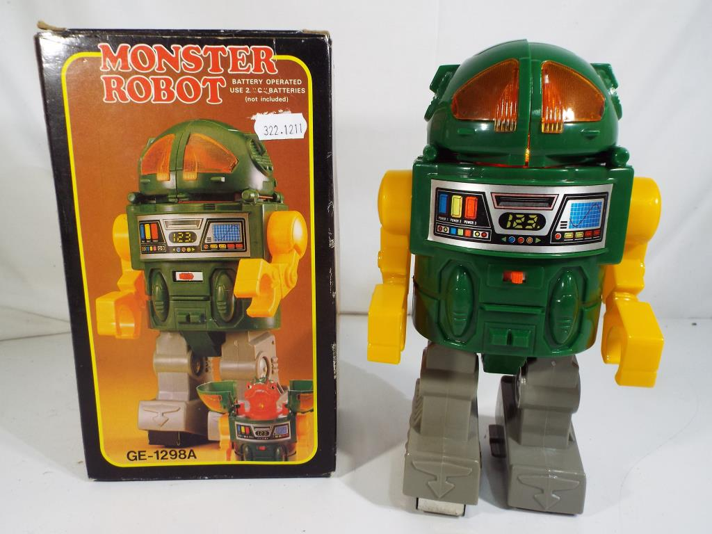 Lot 8 - Monster Robot in original box by Horikawa, battery operated,