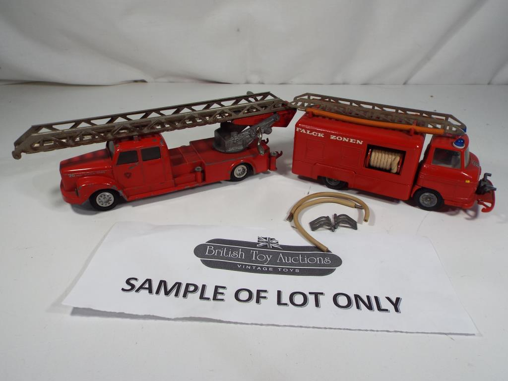 Lot 71 - Tekno - five unboxed diecast fire vehicles to include a Scania Vabis ref 445 and a Volvo Falck