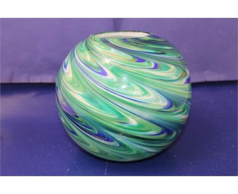 A large green & blue swirl glass Murano style vaseapprox 20x20cm