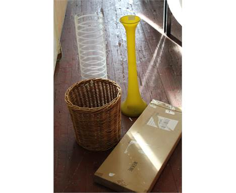 A new kitchen pot & pan rack & glass vases etcclear vase h60yellow vase h57unable to post