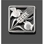 A Brooch, by Georg Jensen, the square frame with a wheatsheaf diagonally and a bird in each