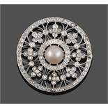 An Edwardian Diamond and Cultured Pearl Brooch, the cultured pearl within an old cut and rose cut