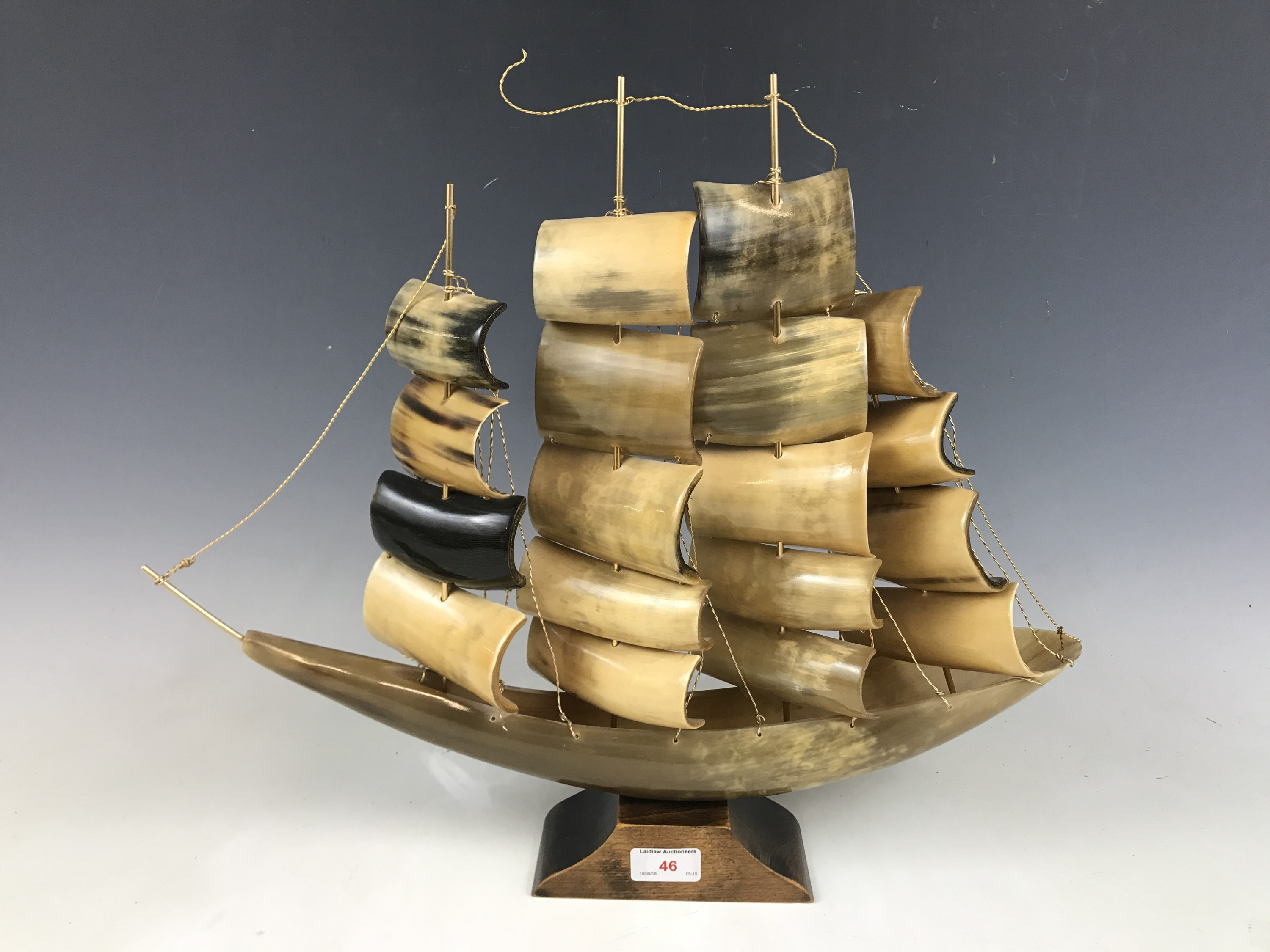 Lot 46 - A horn model of a galleon