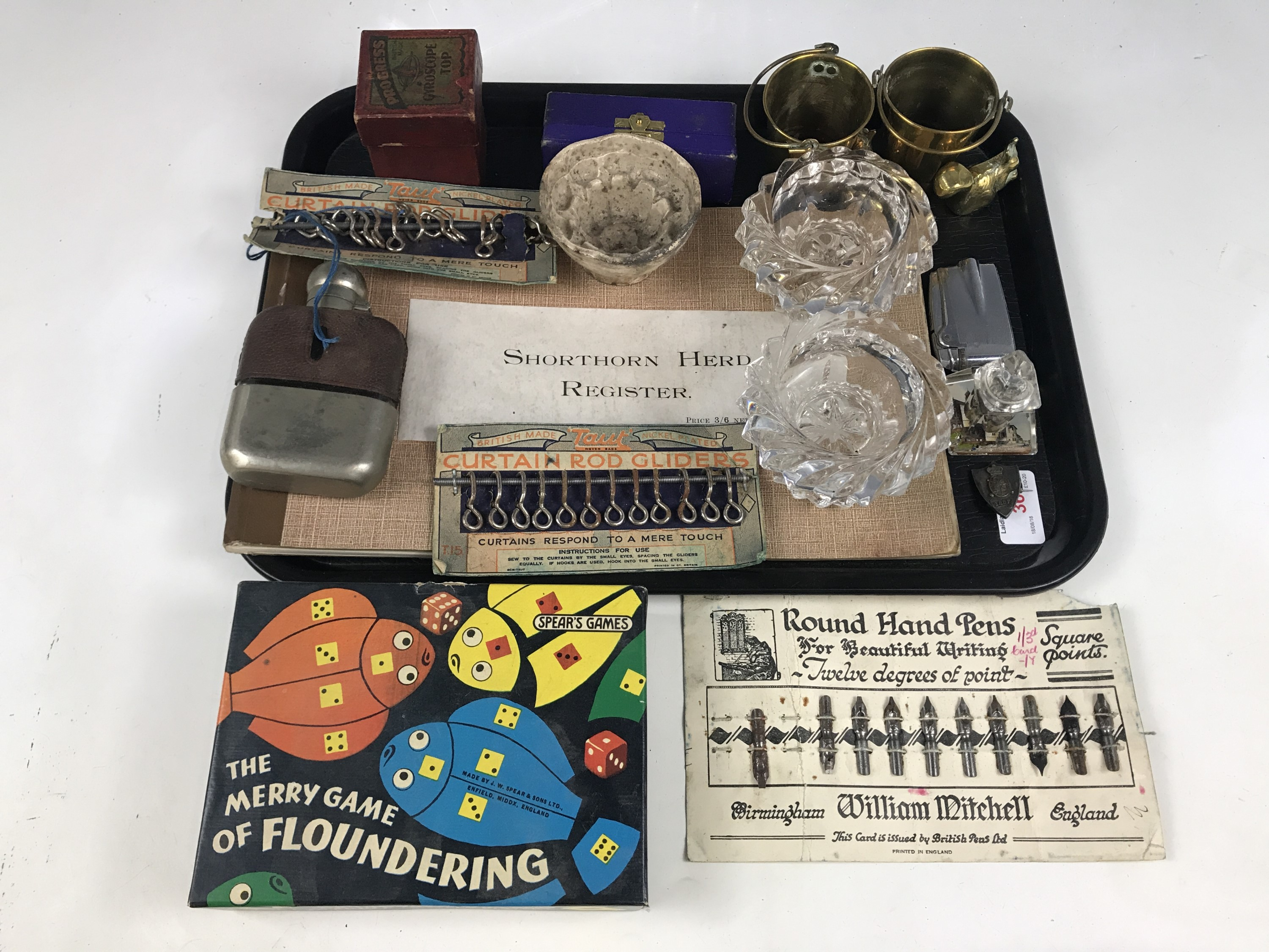 Lot 36 - Sundry collectors' items including a boxed Spear's Merry Game of Floundering, a hip flask, a pair of