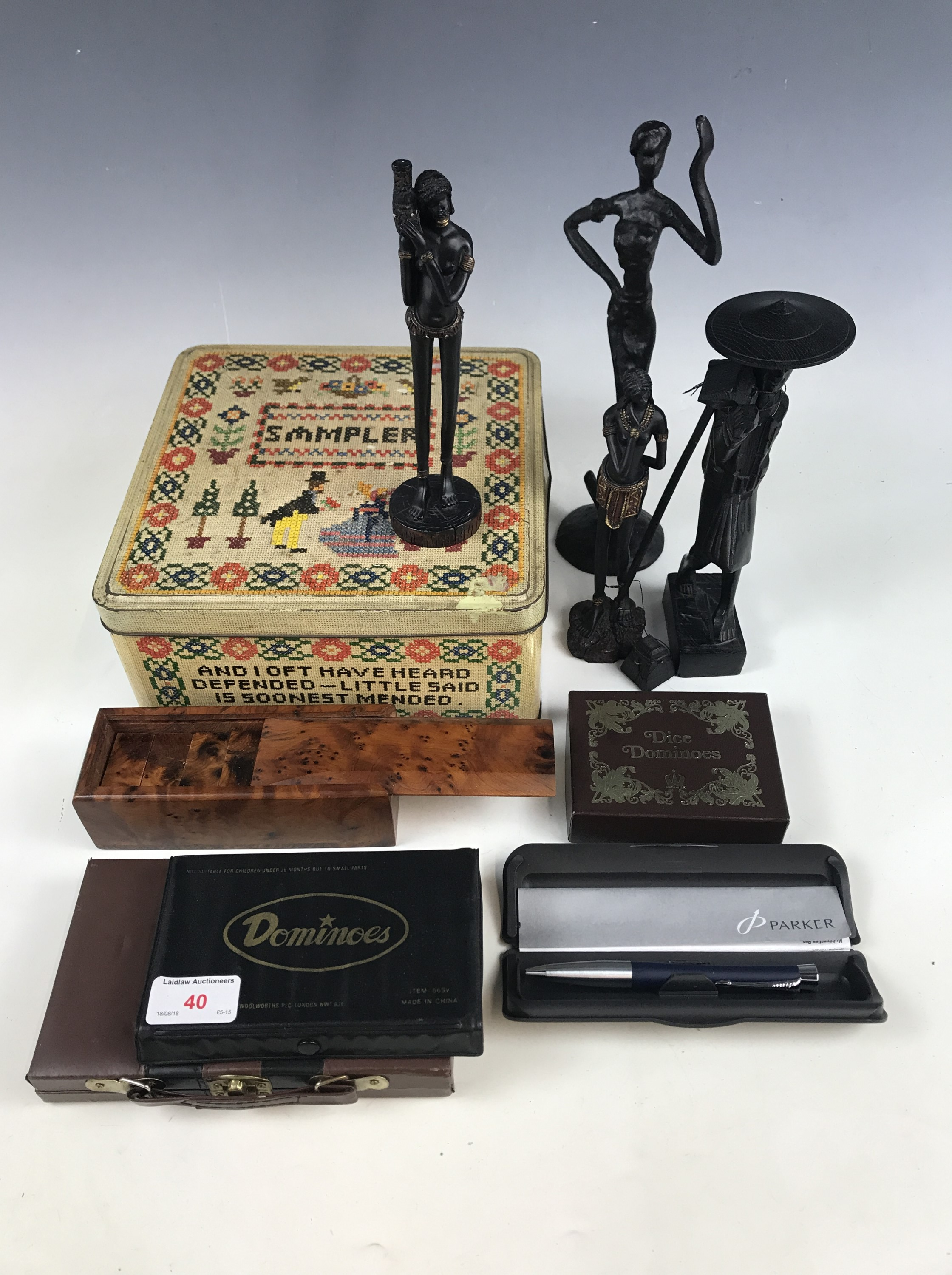 Lot 40 - A quantity of domino sets together with a cased Parker pen, a vintage Sampler tin and sundry