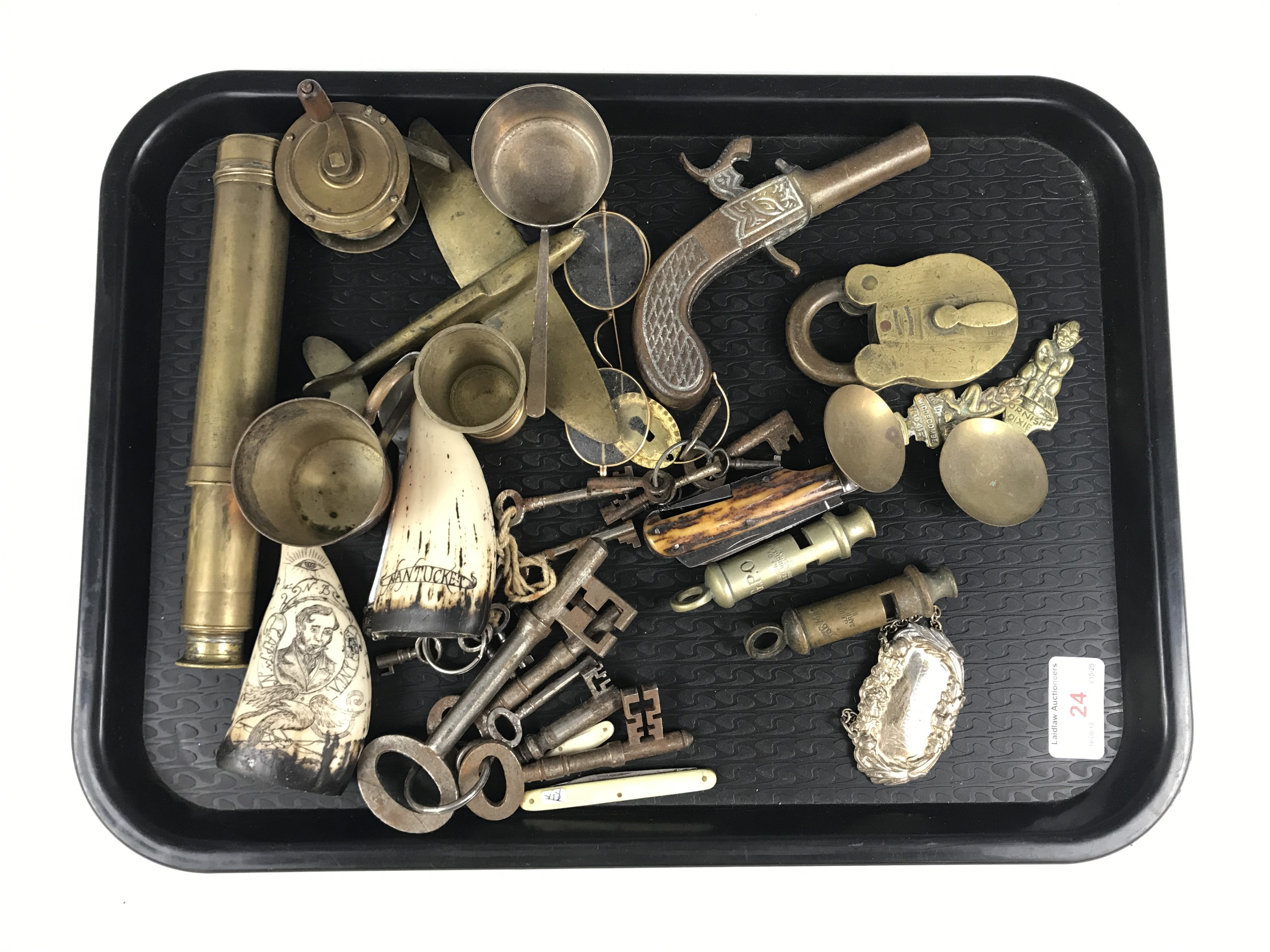 """Lot 24 - Sundry collectors' items including a three-draw brass telescope, a Hudson & Co """"Metropolitan"""""""