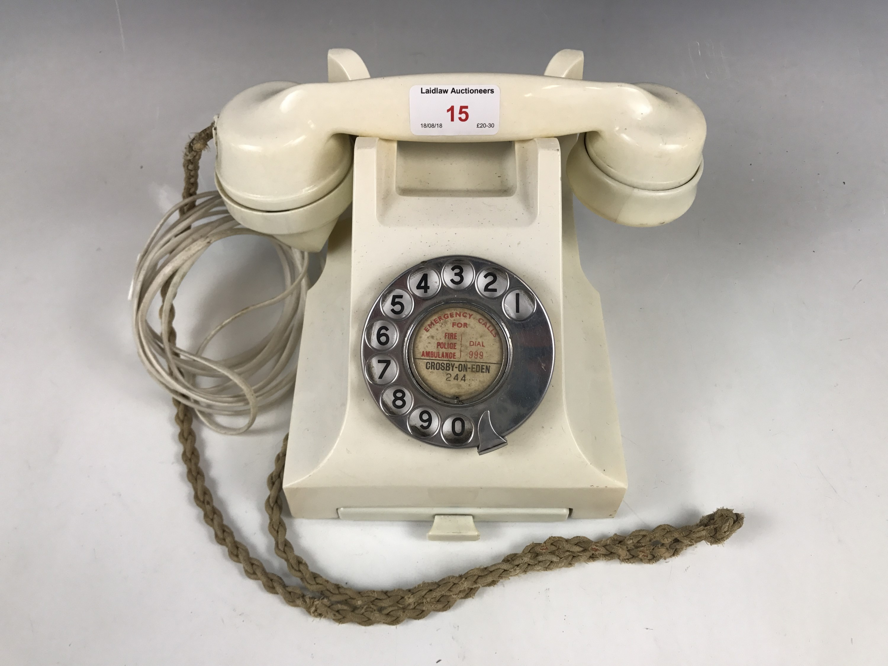 Lot 15 - A vintage cream GPO telephone, wired for modern use