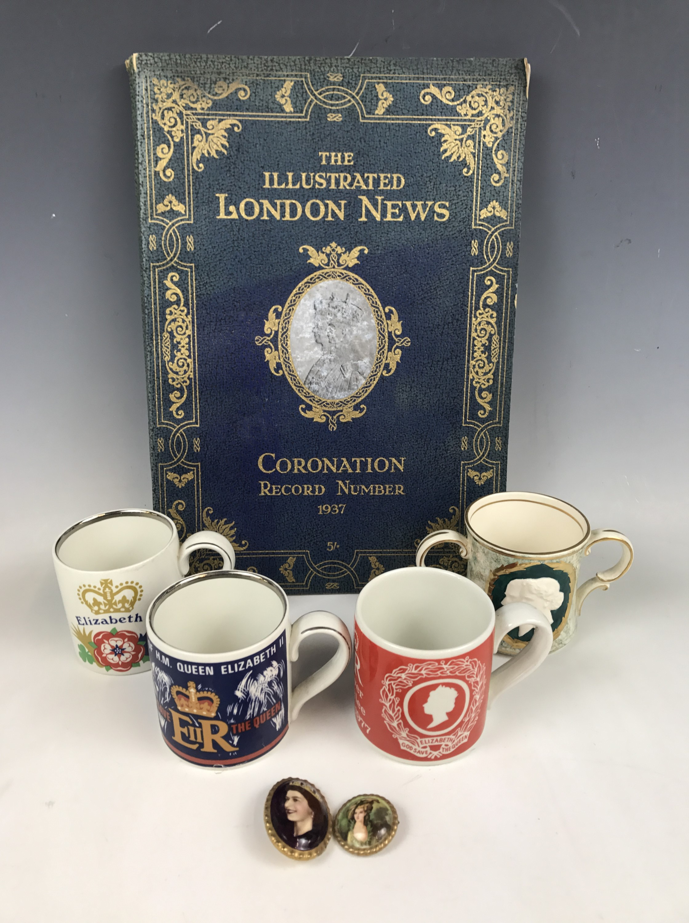 Lot 3 - Burgess & Leigh Burleigh Ware Royal Commemorative mugs, including a 1953 coronation loving cup,
