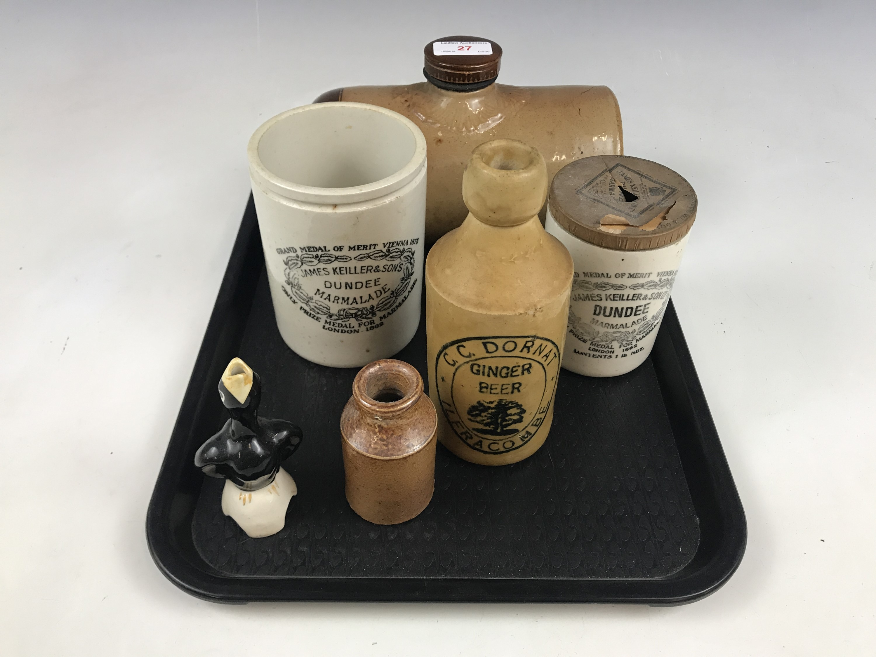 Lot 27 - Vintage stoneware household / kitchen items, including James Keiller & Sons marmalade jars, a C.