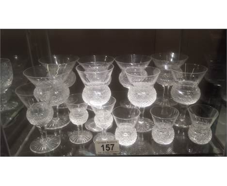 A collection of 14 thistle pattern cut glass wine glasses and other glasses, all in good condition. ****Condition report****