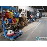 (LOT) MISC. AIRHOSE & ELECTRICAL WIRE WITH STANDS
